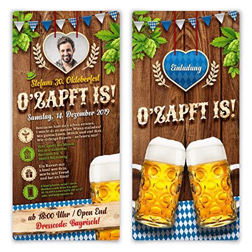 30 x EInladungskarten Geburtstag Oktoberfest individuell O'zapft is! in Blau mit Foto