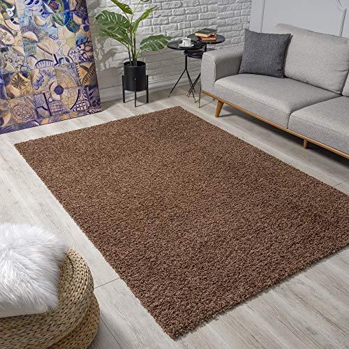 Impression Wohnzimmerteppich - Hochwertiger Öko-Tex zertifizierter Flächenteppich - Solid Color Teppich Dunkelbraun - Größe 120x170