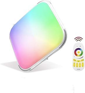 Papasbox Lámpara de Techo LED con Control Remoto 64W, Cuadrado Regulable RGB Plafón LED, Ultra Delgado IP44 Luz de Techo Para Dormitorio, Salón, Cocina, Habitación Infantil