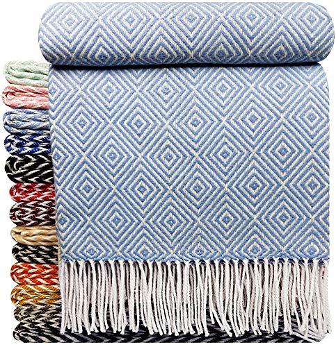 STTS International Baumwolldecke sehr weiches Plaid Wohndecke Kuscheldecke in versch. Farben Baumwolle Marbella Hellblau-V