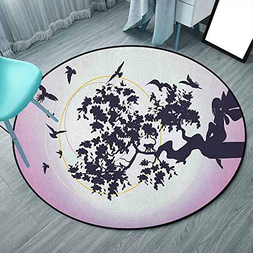 Anime - Alfombra redonda de 150 cm (redonda, 150 x 150 cm), diseño de hada de fantasía sentado en la rama del árbol con pájaros voladores, color morado oscuro y fucsia