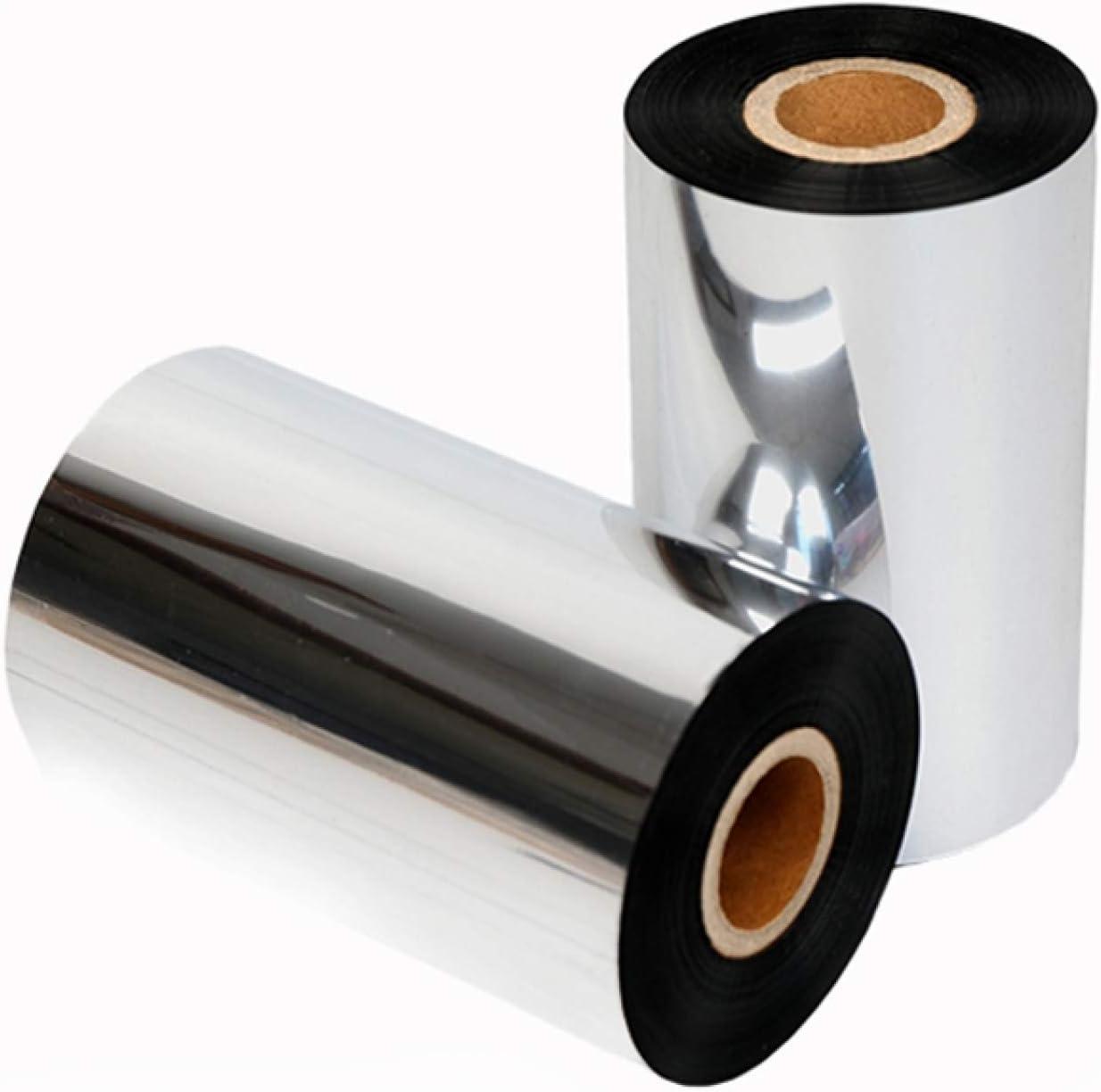 LUOKANGFAN LLKKFF Office Electronics Receipt Printers 2 PCS Wear-Resistant Mixed Wax-Based Printer Coated Paper Barcode Ribbon, Size: 8cmx300m Printer Accessory