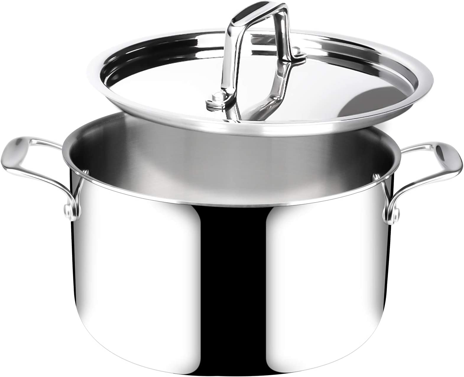 Duxtop Whole-Clad Tri-Ply Stainless Steel Stockpot with Lid, 6.5 Quart, Kitchen Induction Cookware