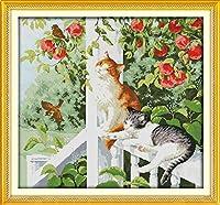 クロスステッチキット 2匹の猫 家の装飾のための初心者のためのDiyアートクロスステッチキット(11Ctプレプリントキャンバス)40X50Cm