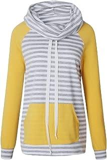 Women Patchwork Pullover Sweatshirts Long Sleeve Hoodies Striped Cowl Neck Drawstring Tops