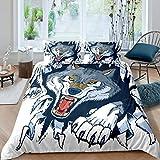 Set di biancheria da letto con motivo animali safari, set copripiumino per bambini e ragazze, acquerello, blu, lupo decorativo, copriletto in stile fauna selvatica, 2 pezzi per letto singolo