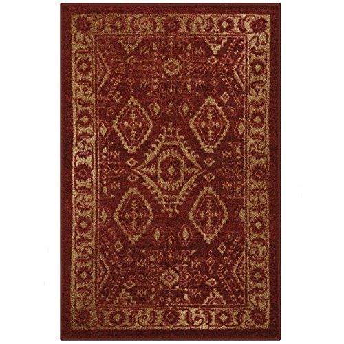 Maples Rugs Georgina Traditional Kitchen Rugs Non Skid Accent Area Carpet [Made in USA], 2'6 x 3'10, Red/Gold