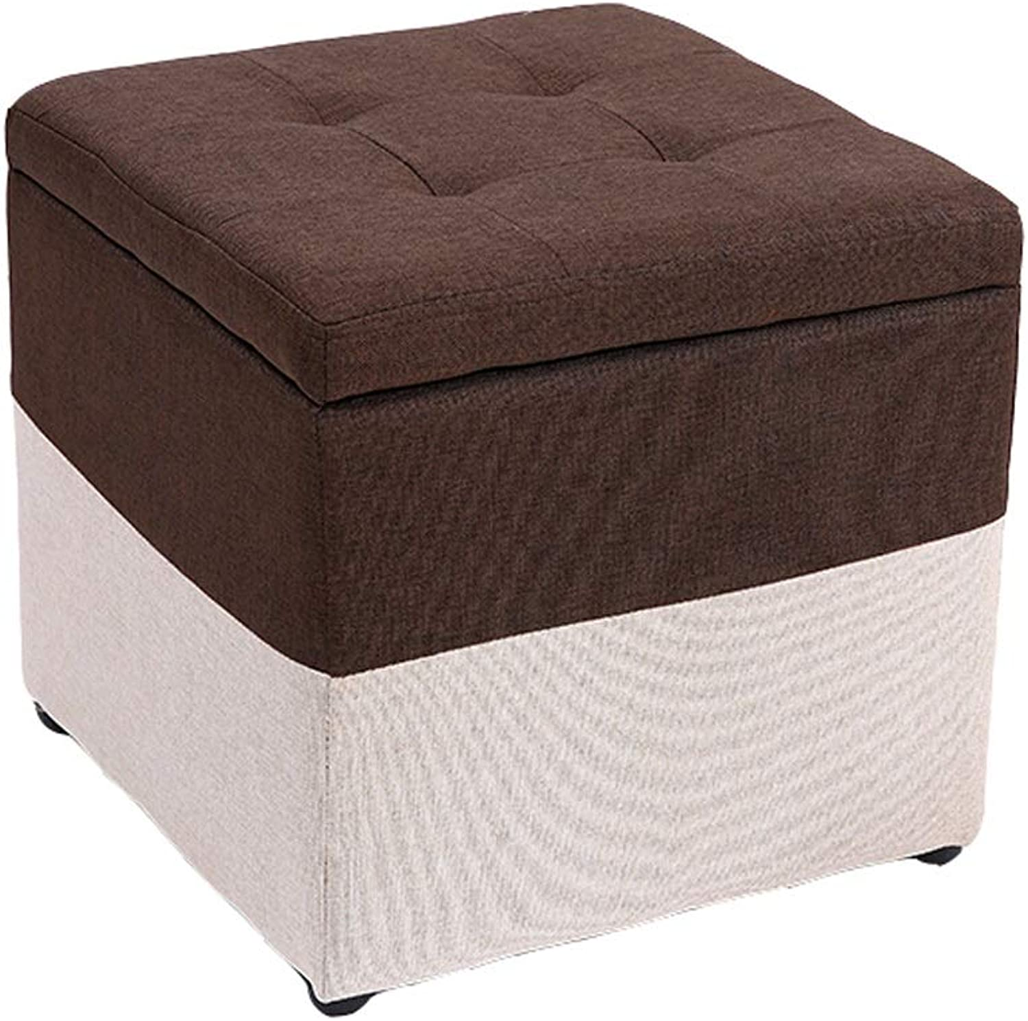 JCOCO Storage Stool-Multifunctional Fabric Stool Storage Stool Fashion shoes Bench Storage Stool 40  40  40CM (color   Brown)