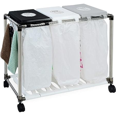 MAYQMAY 資源ゴミ 3分別ワゴン/ゴミ箱 横型 キャスター付き ダストボックス