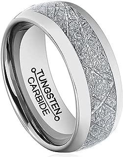 Men 8mm Silver Tungsten Carbide Ring Vintage Meteorites Pattern Wedding Engagement Band Domed Comfort Fit