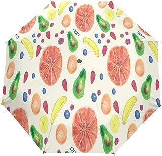 Rain-Love Exclusive Summer Watercolor Fruit Pattern Compact Travel Umbrella,Windproof, Reinforced Canopy,3 Folds Auto Open/Close Anti-UV Umbrella