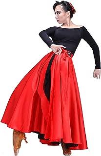 LOLANTA Spanischer Flamenco-Tanzrock für Erwachsene mit rotem Satin-Zigeunerkleid