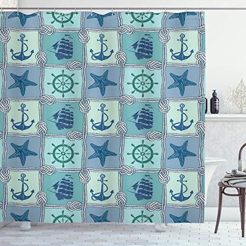 ABAKUHAUS schepen Wheel Douchegordijn, Schepen Wheel Turquoise, stoffen badkamerdecoratieset met haakjes, 175 x 200 cm, turquoise Navy