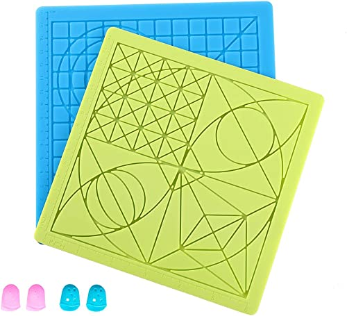 Sovol 3D Printing Pen Silicone Mat 2 Pack with 4 Silicone Finger Caps, 3D Drawing Pen Pad Basic Template Mat Tool for...