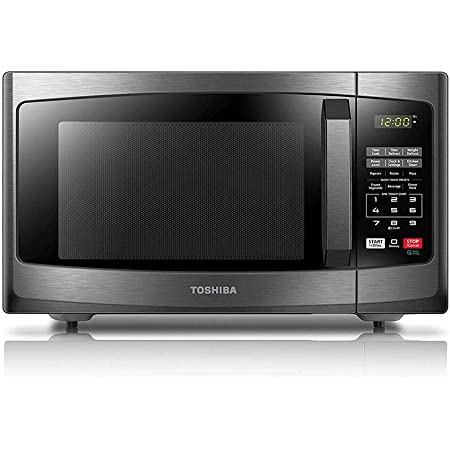 Toshiba EM925A5A-BS Microwave Oven with Sound On/Off ECO Mode and LED Lighting, 0.9 Cu Ft/900W, Black Stainless Steel