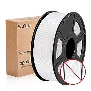 3D Filament PLA+, 1.75mm PLA+ Filament SUNLU pour imprimante 3D, 1KG PLA+, PLA plus Blanc