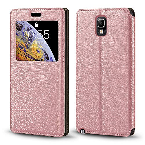 Schutzhülle für Samsung Galaxy Note 3 Neo LTE+ N7505, luxuriös, Holzmaserung, Leder, Kartenfach, Sichtfenster, rose gold