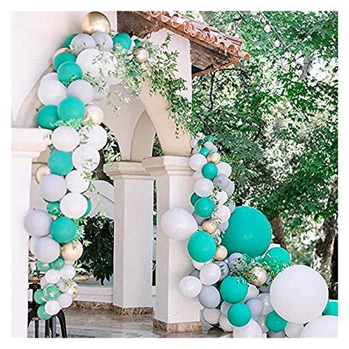 Yinyimei Balloon 114pcs Turquoise Balloons Garland Arch Kit Blue White Metallic Latex Balloons Bridal Shower Wedding Birthday Decoration (Color : 1)