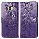 XYX Wallet Case for Galaxy S8+ Plus,[3D Butterfly Flower] PU Leather Folio Case with Kickstand Magnetic Closure Protective Cover for Samsung Galaxy S8 Plus SM-G955 (Deep Purple)