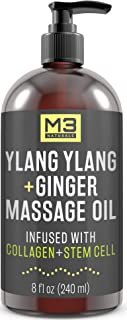 M3 Naturals Ylang Ylang & Ginger Massage Oil Infused with Collagen and Stem Cell Natural Therapeutic Sensual Body Lotion Cream with Essential Oils for Deep Tissue Relaxation Sore Muscle Tension 8FL OZ