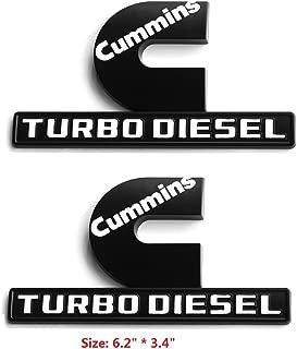 Yoaoo 2x OEM Black Cummins Turbo Diesel Emblem Replacement for Ram 2500 3500 Fender Emblem Matte White