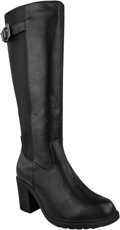 Fashion Thirsty Womens Calf High Boots Elasticated Leg Mid Block Heel Winter Size