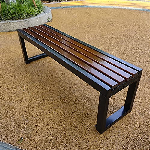 Garden Furniture Terrassen-Gartenbank Outdoor-Metallbank, Parkbank mit Stahlrahmen und Massivholzsitzen, Outdoor-Bank Lounge-Sitze