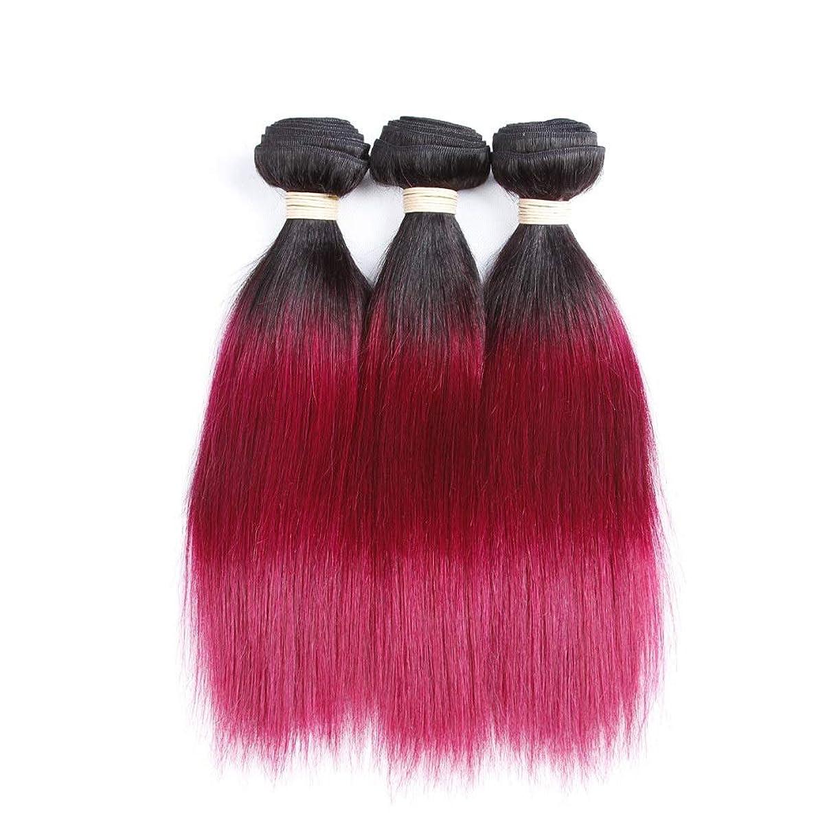 徹底的にラジウム影響を受けやすいですYrattary ワインレッドカラーストレートヘアバンドルブラジル未処理人毛エクステンション - #T1B / 118 2トーンカラー(1バンドル、100g) (色 : ワインレッド, サイズ : 24 inch)