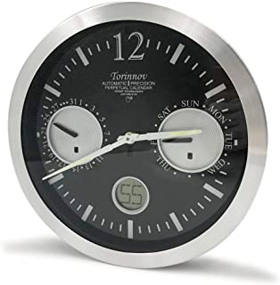 """Torinnov 12"""" Aluminium Atomic Wall Clock with Date and Day of Week,Smart Radio Clock with Black Clock face and Silver Meta..."""