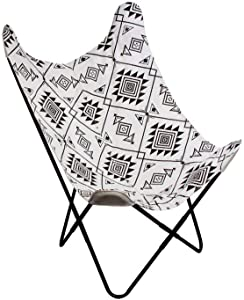The Home Deco Factory Silla Mariposa étnico Blanco y Negro, Metal, 74 x 79 x 101 cm
