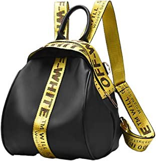 Fashion Casual Solid Color Letter Pattern Waterproof PU Ladies Backpack,Yellow