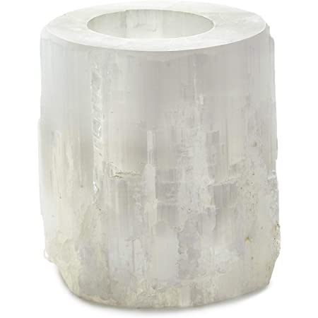 Amazon Com Serene Spaces Living Genuine Selenite Tealight Holder Selenite Crystal Tower Candle Holder For Healing And Positive Vibes Votive Measures 5 Tall 5 Diameter Home Kitchen