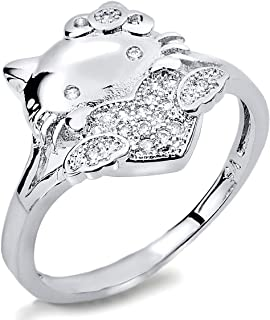VF Lovely Cute Cat Ring Alloy Clear Austrian Crystal CZ Love Heart Ring Kids Gift