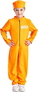 Charm Rainbow Kid's Prisoner Jumpsuit Costume Orange Jail Cosplay Suit, 3-12 Years