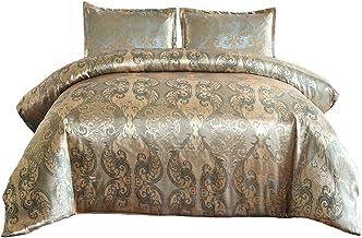 أطقم أغطية سرير SUCSES من قماش الجاكار الساتان، طقم سرير فاخر شبيه بالحرير مع أغطية وسائد (King، وردي ذهبي)