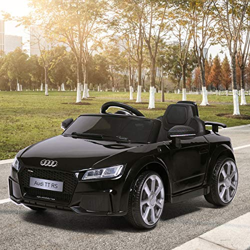 TOBBI Kids Ride On Audi TT RS Licensed Toys Racing Car Remote Control Music Mp3 Play AUX, Black