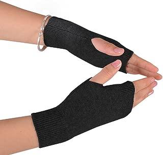 NOVAWO 100% Cashmere Half Fingerless Thumb Hole Warm Gloves Mittens for Men Women