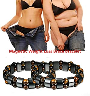 ASHOUSHI Weight Loss Bracelet Round Magnetic Stone to Lose Weight Magnetic Therapy Helps Ladies and Gentlemen Lose Weight Hematite Bracelet with Elastic Magnet