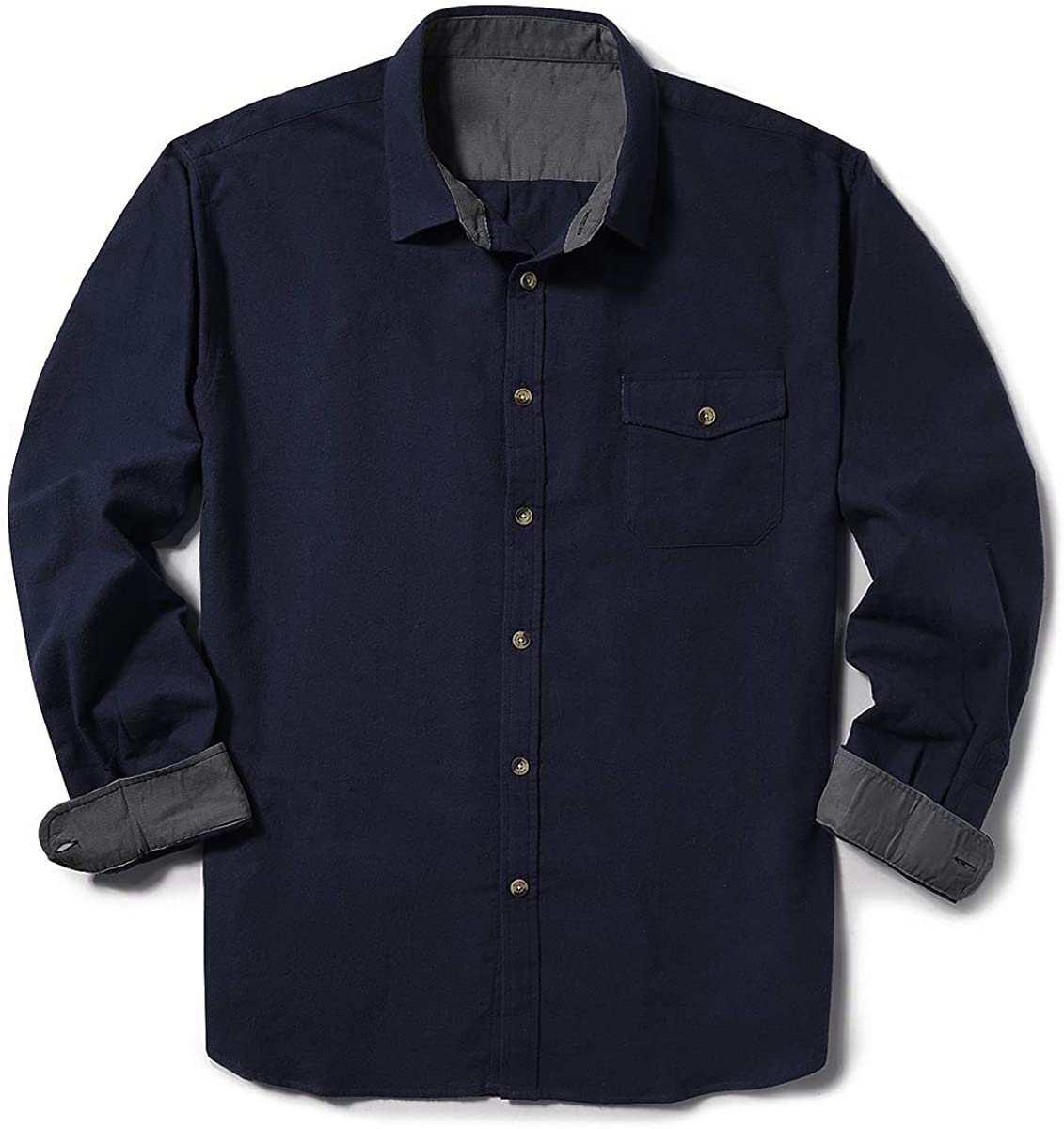 ZIOLOMA Men's Long Sleeve Flannel Solid Dress Shirts Western Button Down Shirts
