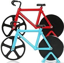 BESTZY Tagliapizza a Forma di Bicicletta in Acciaio Inox Lame con Rivestimento Antiaderente Utensili da Cucina con Cavalletto