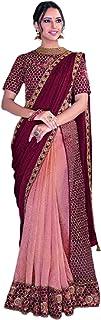 Pink Indian D Crush Silk Eid Designer Sari Thread Sequin Work Pre Stitched Blouse 1 Minute Saree 6331