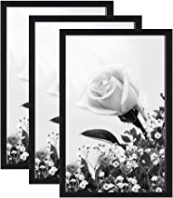 IGxx 11x17 Frame Black Poster Frame Without Mat Made of Solid Wood Wall Mounting Home Decor for 11 by 17 Print Picture, Set of 3