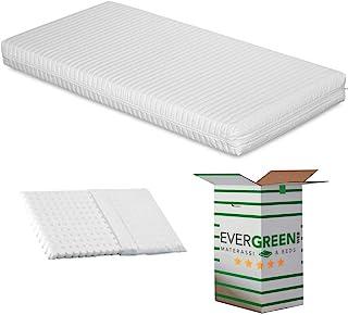 Evergreenweb – spjälsäng eller spjälsäng madrass 70 x 140 cm hög och 12 cm hög + gratis anti-sofco kudde med naturligt bom...