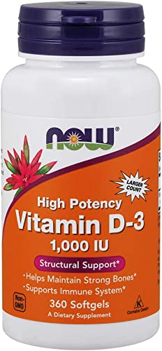 NOW Supplements, Vitamin D-3 1,000 IU, High Potency, Structural Support*, 360 Softgels