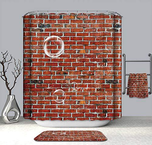 XCBN Cortinas de Ducha de Verano 3D, murallas de Piedra realistas, patrón de Pared de ladrillo, Cortina de baño Lavable, Productos de baño A7 180x180cm