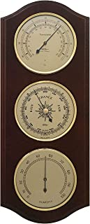 Fischer Germany Weather Station with Thermometer, Barometer & Hygrometer 395 x 155 mm - 9178-US °C+°F (Mahogany)