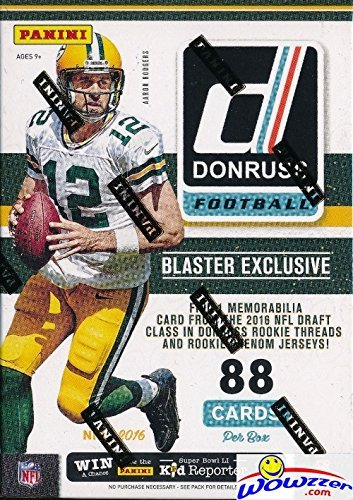 2016 Donruss NFL Football EXCLUSIVE Factory Sealed Retail Box with ROOKIE MEMORABILIA Card Plus RC & INSERT in EVERY Pack! Look for Autographs of Tom Brady, Brett Favre,Aaron Rodgers & Many More Stars