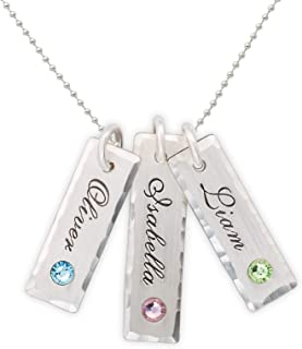 AJ's Collection Unity in Three with Swarovski Setting Personalized Charm Necklace. Customized Pendants with Names of Your Choice. Choose Up to 3 Birthstones, and 925 Chain. Gifts for Her