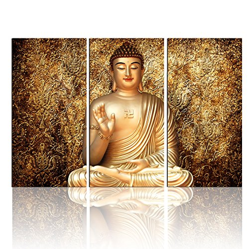 3 Panel Golden Abstract Budda Canvas Wall Art / Budda Canvas Wall Print / Budda Wall Picture for Home Decoration No Frame