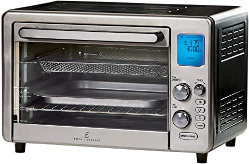 """high quality Emeril Lagasse online sale Power Air Fryer 360 Max XL Family Sized Better Than Convection Ovens Replaces a Hot online Air Fryer Oven, Toaster Oven, Rotisserie, Bake, Broil, Slow Cook, Pizza, Dehydrator & More. Emeril Cookbook. Stainless Steel. (MAX 15.6"""" 19.7"""" x 13"""") outlet online sale"""
